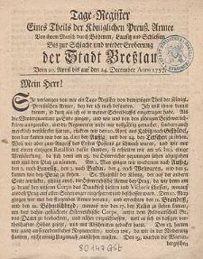 Tage-Register Eines Theils der Könglichen Preuss. Armee Von ihrem Marsch durch Böhmen, Lausitz und Schlesien [...].