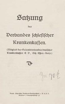 Satzung des Verbandes schlesischer Krankenkassen.