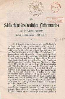 Eine Schülerfahrt des Deutschen Flottenvereins aus der Provinz Schlesien nach Hamburg und Kiel / [von Dobschütz]