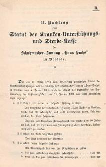 """Statut der Kranken-Unterstützungs- und Sterbe-Kasse der Schumacher-Innung """"Hans Sachs"""" zu Breslau"""
