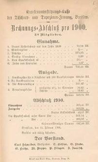 Rechnungs-Abschluß pro 1899