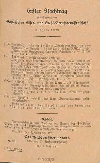 Erster Nachtrag zur Satzung der Schlesischen Eisen- und Stahl-Berufsgenossenschaft Ausgabe 1928