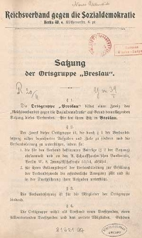 Satzung der Ortsgruppe Breslau