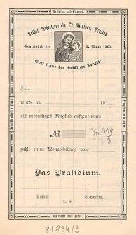 Statuten / Katholischer Arbeiterverein St. Nicolaus, Breslau