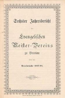 Fünfter Jahresbericht des Evangelischen Meister-Vereins zu Breslau über das Vereinsjahr 1896/97