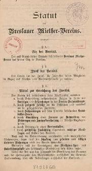 Statut des Breslauer Miether-Vereins