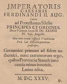 Jmperatoris Caesaris Ferdinandi II [...].
