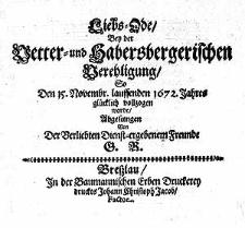 Liebs=Ode bey der Vetter=und Habersbergerischen Verehligung, [...]