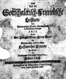 Diese auf die Gottschalckisch-Frimelische Hochzeit [...] verfertigte Aria brachte [...] in nachfolgende
