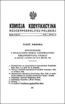 Komisja Kodyfikacyjna Rzeczypospolitej Polskiej. Dział Ogólny 1929 T. 1, z. 11