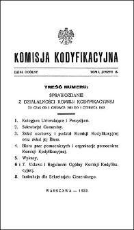 Komisja Kodyfikacyjna Rzeczypospolitej Polskiej. Dział Ogólny 1932 T. 1, z. 15