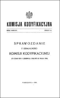 Komisja Kodyfikacyjna Rzeczypospolitej Polskiej. Dział Ogólny 1934 T. 1, z. 16