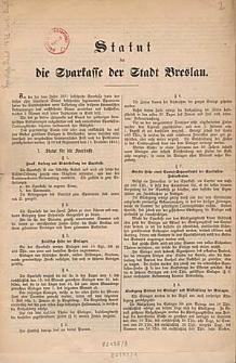 Statut für die Sparkasse der Stadt Breslau