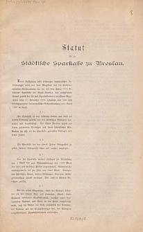 Statut für die Städtische Sparkasse zu Breslau