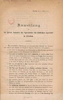 Anweisung für die Herren Sammler des Sparvereins der Städtischen Sparkasse zu Breslau