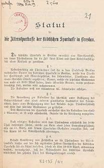 Statut für die Altersparkasse der Städtischen Sparkasse in Breslau
