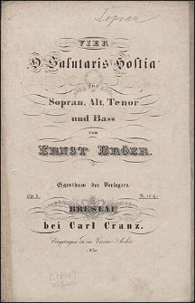 """Vier """"O salutaris Hostia"""" : für Sopran, Alt, Tenor und Bass : op. 1"""