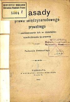 Zasady prawa międzynarodowego prywatnego i zastosowanie ich w dziedzinie spadkobrania (z prawa)