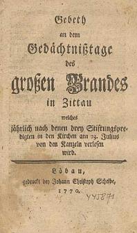Gebeth an dem Gedächtnißtage des großen Brandes in Zittau [...].