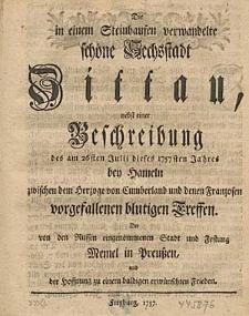 Die in einem Steinhausen verwandelte schöne Sechsstadt Zittau [...].