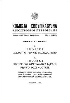 Komisja Kodyfikacyjna Rzeczypospolitej Polskiej. Sekcja Postępowania Cywilnego. T. 1, z. 9