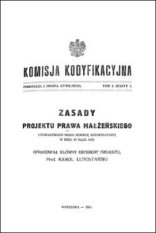 Komisja Kodyfikacyjna. Podsekcja 1 Prawa Cywilnego. T. 1, z. 3
