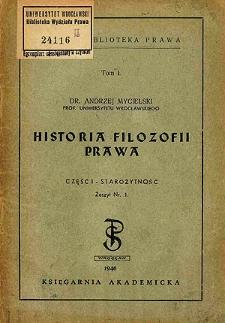 Historia filozofii prawa. Cz. 1, Starożytność. Z. 1