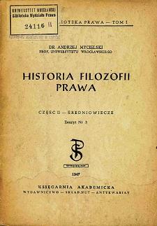 Historia filozofii prawa. Cz. 2, Średniowiecze. Z. 3