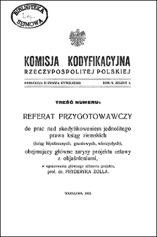 Komisja Kodyfikacyjna Rzeczypospolitej Polskiej. Podsekcja 2 Prawa Cywilnego. T. 1, z. 1