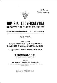 Komisja Kodyfikacyjna Rzeczypospolitej Polskiej. Podsekcja 3 Prawa Cywilnego. T. 1, z. 4