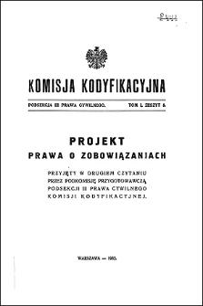 Komisja Kodyfikacyjna Rzeczypospolitej Polskiej. Podsekcja 3 Prawa Cywilnego. T. 1, z. 5