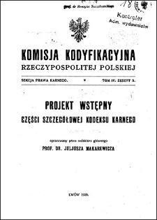 Komisja Kodyfikacyjna Rzeczypospolitej Polskiej. Sekcja Prawa Karnego. T. 4, z. 2