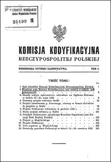Komisja Kodyfikacyjna Rzeczypospolitej Polskiej. Podkomisja Ustroju Sądownictwa. T. 1