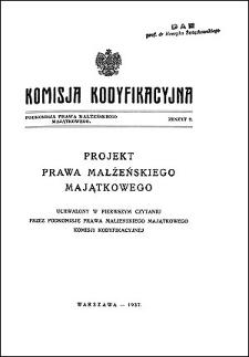 Komisja Kodyfikacyjna. Podkomisja Prawa Małżeńskiego Majątkowego. Z. 2