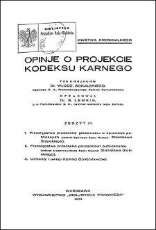 Opinje o projekcie kodeksu karnego. Z. 3