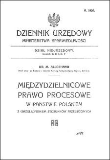 Międzydzielnicowe prawo procesowe w państwie polskiem z uwzględnieniem stosunków przejściowych
