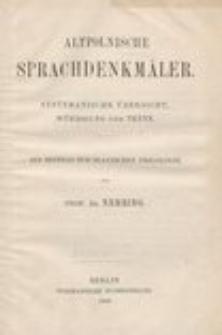 Altpolnische Sprachdenkmäler : systematische Übersicht, Würdigung und Texte : ein beitrag zur Slavischen Philologie