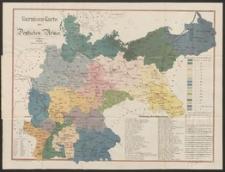 Garnison-Karte der Deutschen Armee mit Angabe der Armeecorps- und Landwehr-Bezirks-Grenzen sowie mit Bezeichnung der Servis-Klassen für sämmtliche Garnison-Orte. Nebst einer ausführlichen Liste aller Truppentheile und Landwehr-Bataillone