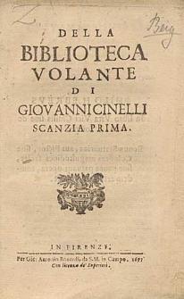 Della Biblioteca Volante Di Giovannicinelli Scanzia Prima.