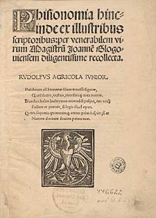 Phisionomia hincinde ex illustribus scriptoribus: per venerabilem virum Magistru[m] Joanne[m] Glogouiensem diligentissime recollecta.