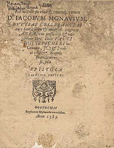 Ad nobilem [...] Iacobum Monavivm, nuptias celebrantem cum [...] Anna, viri [...] Dn. Doct. Pavli Holtzpecheri in Grunau [...] epistola Nathanis Chytræi.