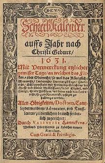 Schreibkalender auffs Jahr nach Christi Geburt 1631