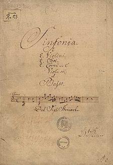 Sinfonia | â | 2. Violini | 2. Oboi | 2. Corni in C | Viola obl: | et | Basso | [incipit: vl 1] | Dal Sige. Sterckel