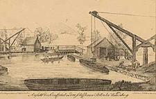 Ansicht der Einfahrt in den schiffbaren Stollen bei Waldenburg