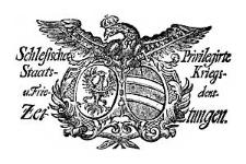 Schlesische Privilegirte Staats- Kriegs- und Friedens-Zeitungen. 1764-10-03 [Jg.23] Nr 117