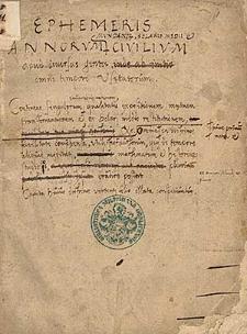 Ephemeris annorum mundanorum solaris medii et civilium apud diversas gentes omni tempore visitatorum