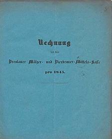 Rechnung bei der Breslauer Mälzer- und Bierbrauer-Mittels-Kasse pro 1845