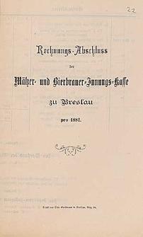 Rechnung-Abschluss der Mälzer- und Bierbrauer-Innungs-Kasse zu Breslau pro 1882