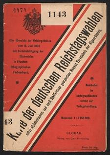 Karte der deutschen Reichstagswahlen nebst alphabetischem und nach Wahlkreisen geordnetem Namens-Verzeichnis der Abgeordneten : eine Übersicht der Wahlergebnisse vom 15. Juni 1893 mit Berücksichtigung der Stichwahlen [...]