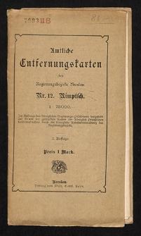 Amtliche Entfernungskarte des Kreises Münsterberg
